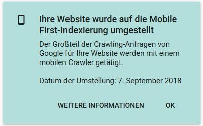 Google Search Console Meldung zur Umstellung auf Mobile First