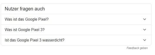 """Rubrik """"Nutzer fragten auch"""" in den Google SERPs"""