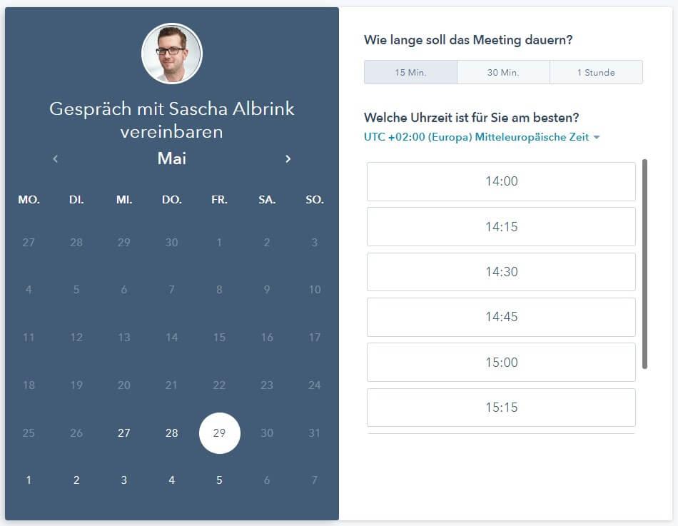 Online-Buchungskalender für Terminvereinbarung von Sascha Albrink