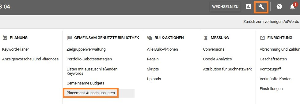 placement ausschlussliste adwords