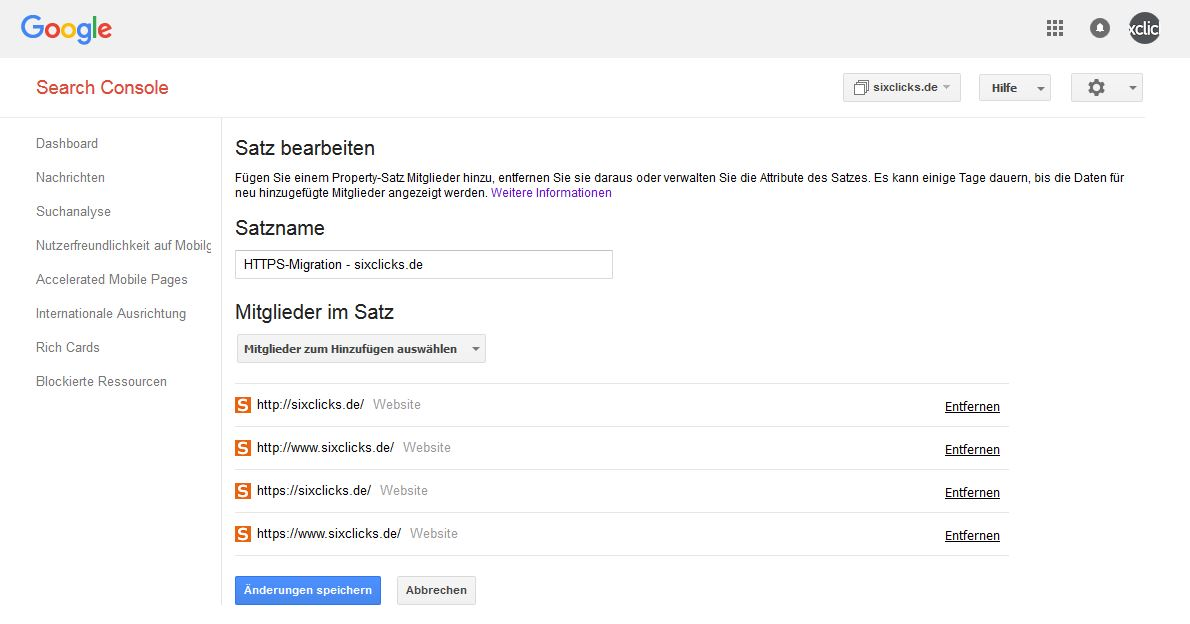 property satz in der google search console anlegen