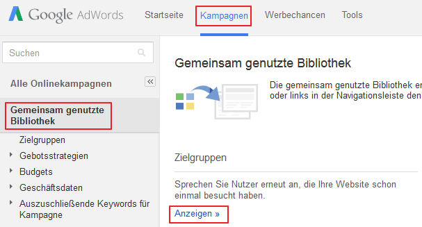 Remarketing Liste in AdWords anlegen