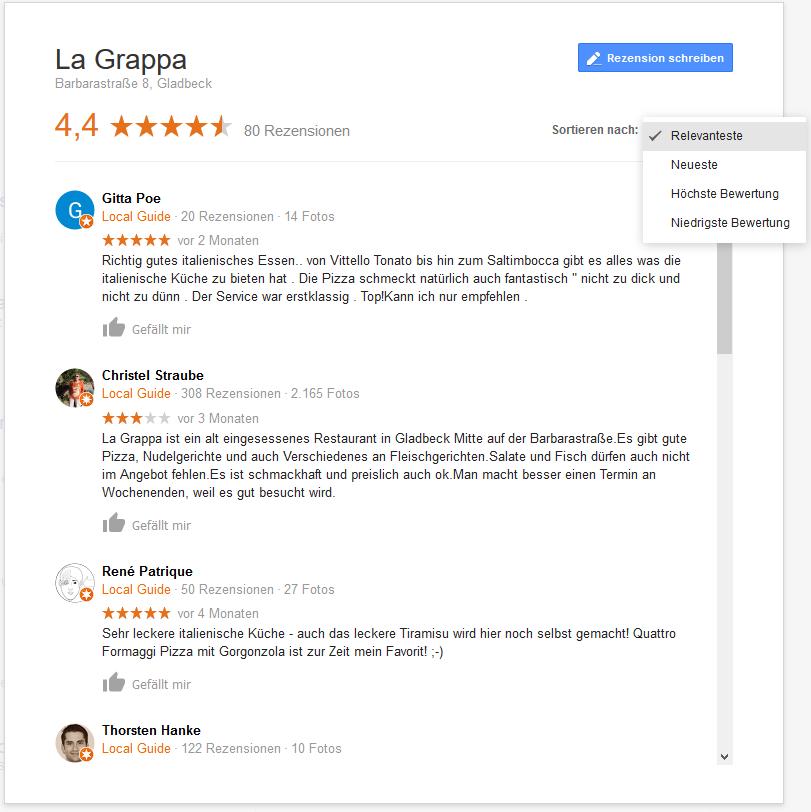 Rezensionen und Gesamtbewertung in einem Google Maps Eintrag