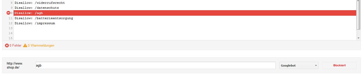 robots.txt-Tester zeigt eine blockierte URL an