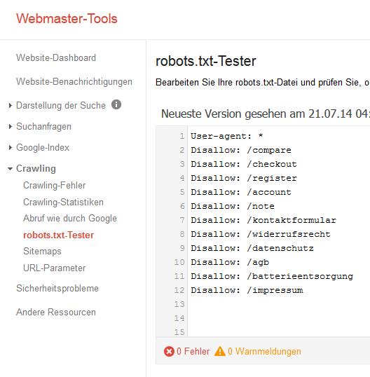 robots.txt-Tester in den Google Webmaster-Tools