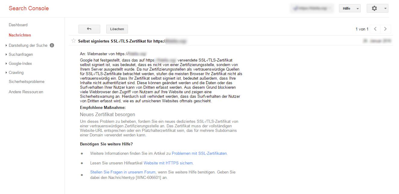 Selbst signierte SSL Zertifikate Nachricht in der Google Search Console