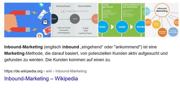 """Für das Keword """"Inbound Marketing"""" spielt Google ein Featured Snippet aus."""