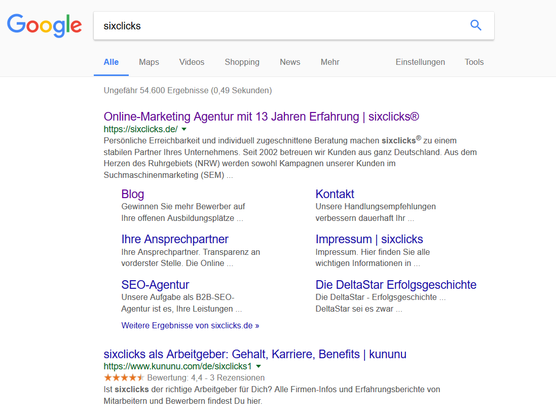 Sitelinks in der Googlesuche