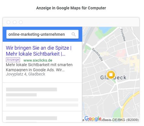 So sehen Anzeigen von smarten Kampagnen in der Google Maps aus