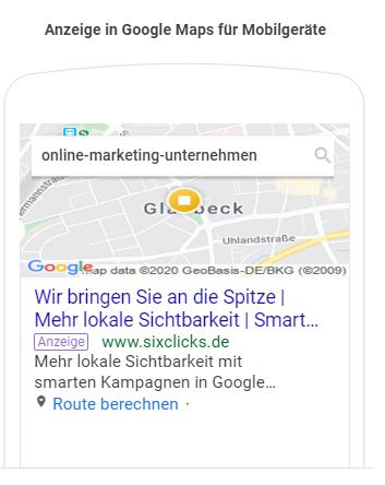 So sehen Anzeigen von smarten Kampagnen in mobilen Suche bei Google Maps aus