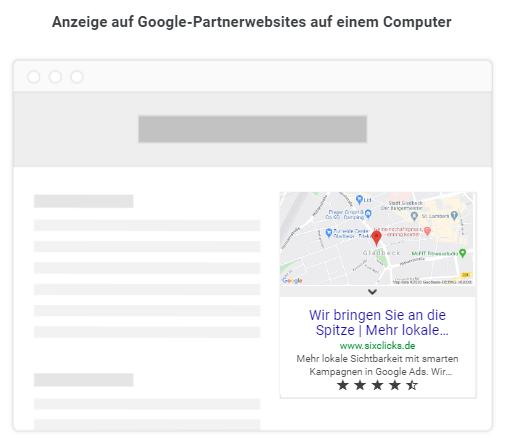 So sehen Anzeigen von smarten Kampagnen auf Google Partnerwebsites aus