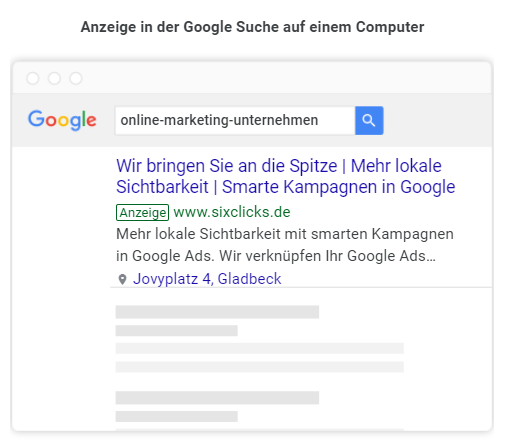 So sehen Anzeigen von smarten Kampagnen in der Google Suche aus