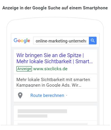 So sehen Anzeigen von smarten Kampagnen in der mobilen Google Suche aus