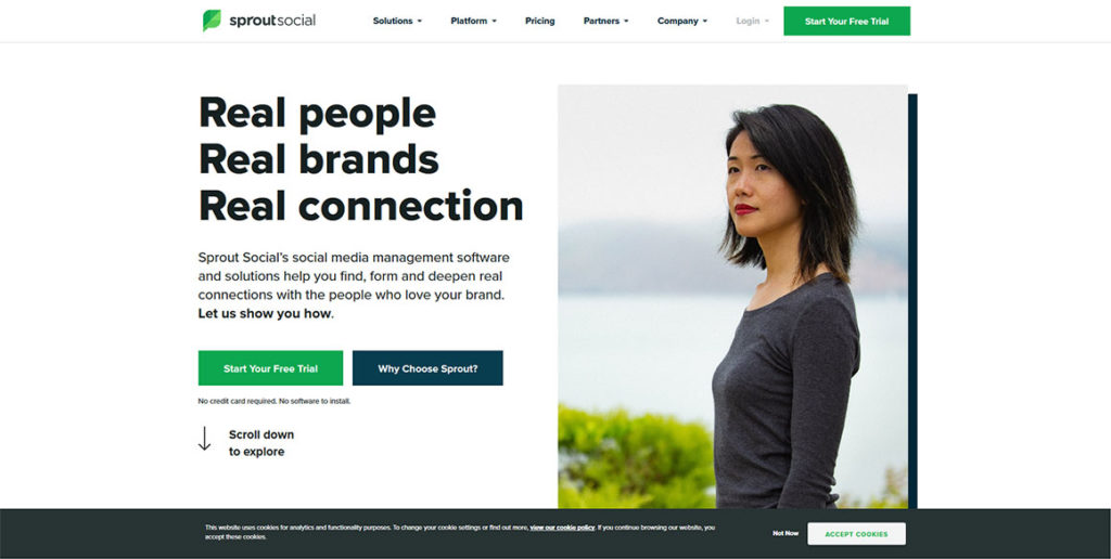 Startseite des Social Media Tools Sprout Social