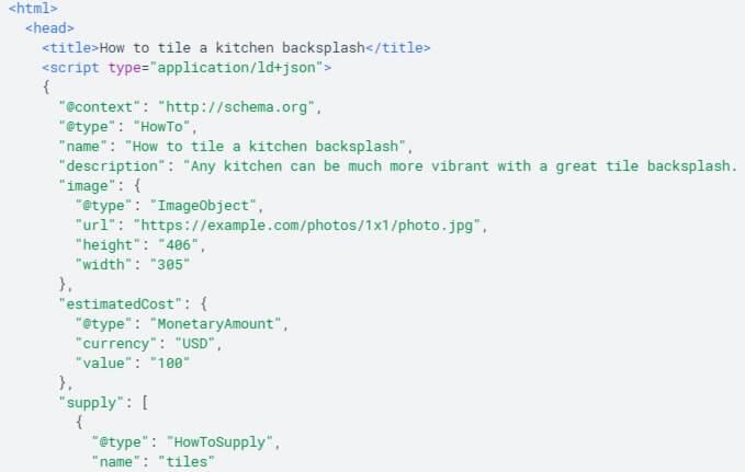 Beispielcode von strukturierten Daten für eine How to-Anleitung