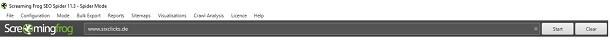 Eingabe der URL in der Suchleiste des SEO Spider von Screaming Frog