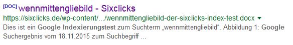 Snippet zu Word-Datei in Google