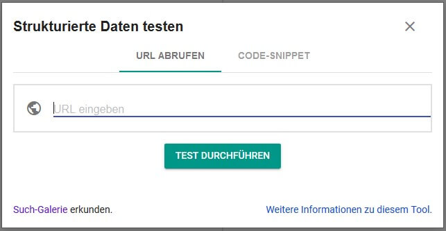 URL in Googles Structured Data Testing Tool abrufen