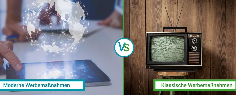 gegenüberstellung: Werbung modern vs klassisch