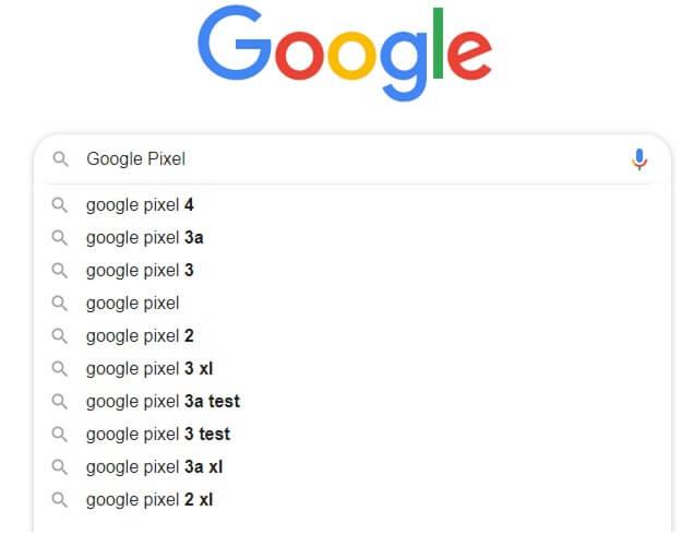 Mögliche Vervollständigen eines Suchterms in der Google Suche
