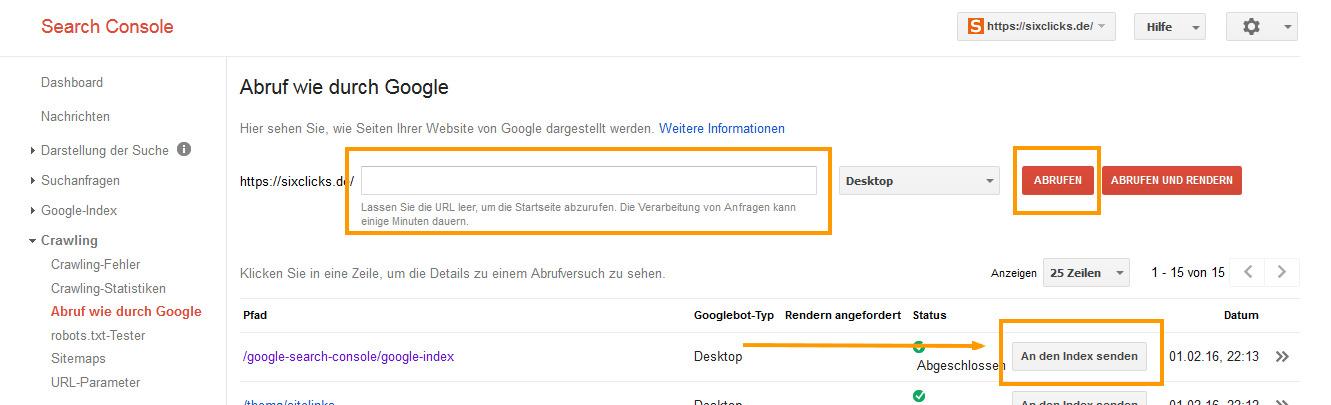 Abruf wie durch Google