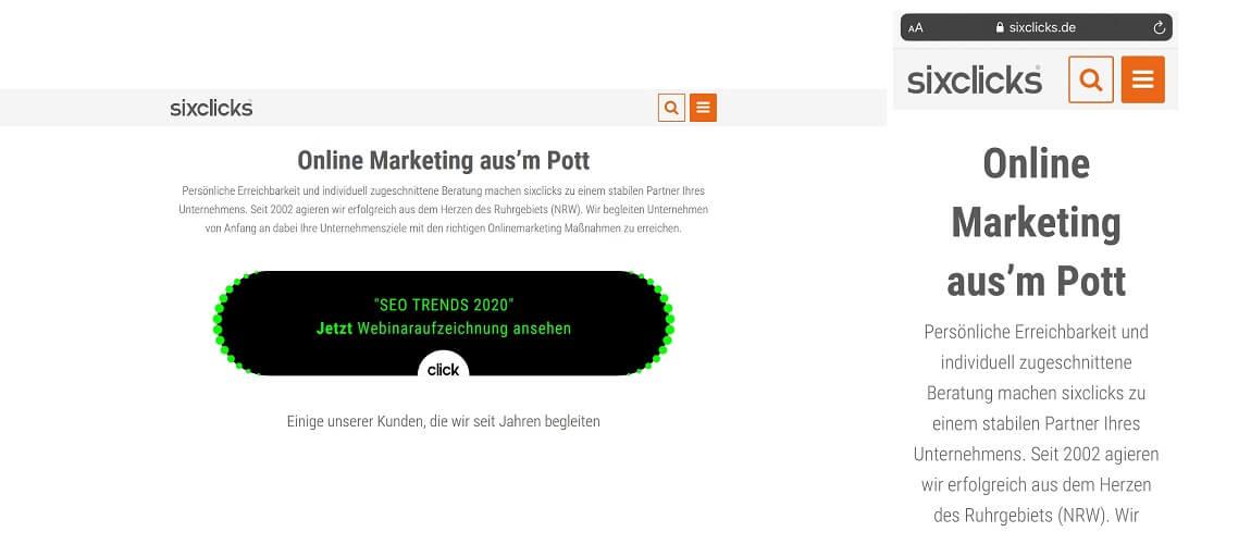 Einheitliches Design einer Website in der mobilen und Desktop Ansicht
