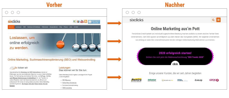 Wie eine Website vor und nach dem Relaunch aussieht