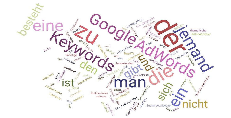 Wortwolke zum Artikel wie man die richtigen AdWords Keywords findet